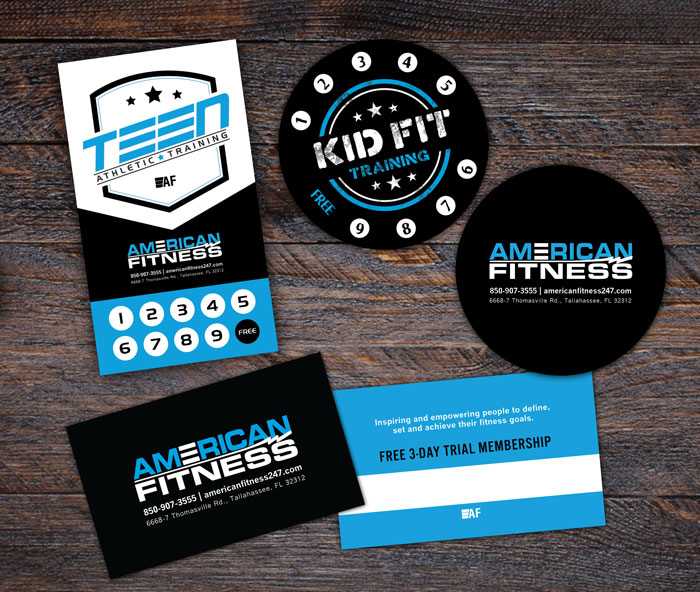 Griffin design tallahassee web design and graphic design american fitness punchcards and business card colourmoves
